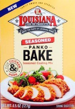 Louisiana Seasoned Panko Bake Coating Mix 4.5 Oz by Louisiana Fish Fry Products (Fish Mix Bake)
