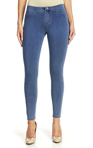HUE Women's Plus Size Super Smooth Denim Leggings, Vintage Wash, XXL