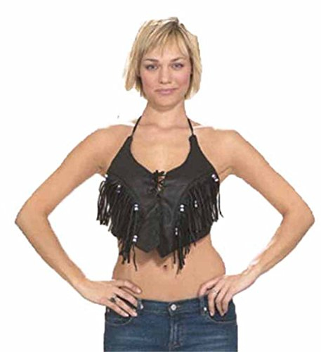 Ultimate Leather Apparel Ladies Leather Halter top with Fringes and Beads, Laces on Front 2X/3XL Black