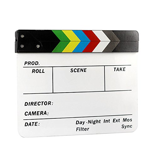CHESEY Director Clapboard Film Movie Clapper Board Acrylic Dry Erase Stadio Camera TV Video Cut Action Scene Board with Color Sticks 10x12