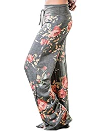 Women's Pajama Lounge Pants Floral Print Comfy Casual Stretch Palazzo Drawstring Pj Bottoms Pants Wide Leg