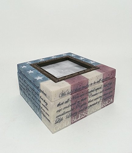 American Flag - God Bless America Picture Frame and Box Combo / Heartstone Collection/ Holds a 3x3 Photo ()
