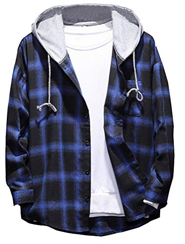 Lavnis Men's Plaid Hooded Shirts Casual Long Sleeve Lightweight Shirt Jackets Blue M