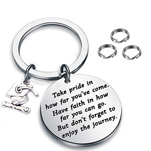 FUSTMW Graduation Gift Take Pride in How Far You Have Come Graduates Keychain Inspirational Letters Graduates Gifts for Him/Her (Silver)]()