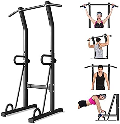 Heavy Duty Power Tower Adjustable Height Pull Up Bar Multi-Function Dip Stands Strength Training Fitness Workout Dip Station