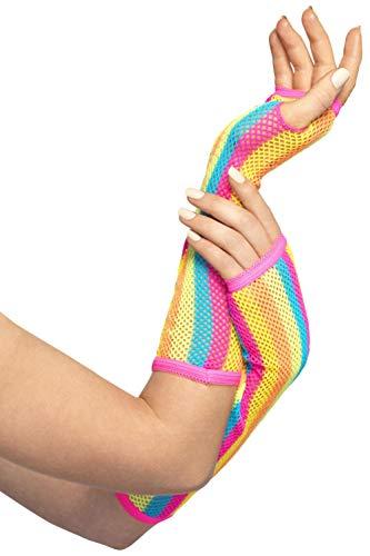 Smiffy's Fishnet Gloves, Neon Striped, One Size]()
