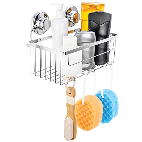 (HASKO accessories Vacuum Suction Cup Shower Caddy | Deep Basket Organizer for Shampoo with Hooks | Adhesive 3M Stick Discs | Holder for Bathroom Storage | Polished Stainless Steel SS304)
