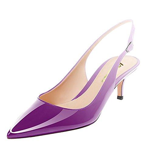 VOCOSI Women's Cute Low Kitten Heels Slingbacks Pointed Toe Classic Formal Dress Pumps White-Purple 8.5 US