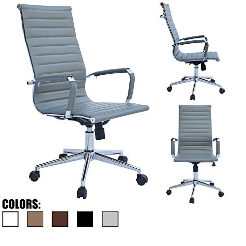 2xhome Gray Office Chair Conference Room Designer Boss PU Leather with Arms Wheels Swivel Tilt Adjustable Manager Mid Century High Back Ribbed Modern Work Task Eames Computer Desk for Tall People Home