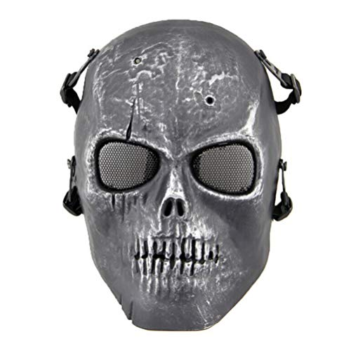 BESTOYARD Skull Skeleton Full Face Tactical Airsoft Paintball Cosplay Mask for Halloween CS Game Survival Game Cosplay and Masquerade Party (Silver -