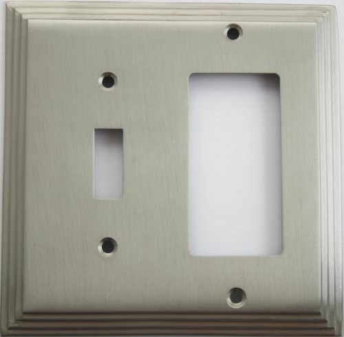 Satin Nickel Deco Step Style 2 Gang Wall Plate - 1 Toggle Switch 1 GFI/Rocker Opening
