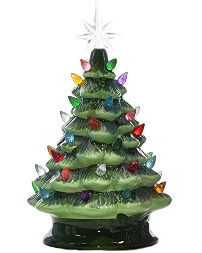 ReLive Christmas is Forever Lighted Tabletop Ceramic Tree, 11-Inch Green Tree with Multicolored Lights