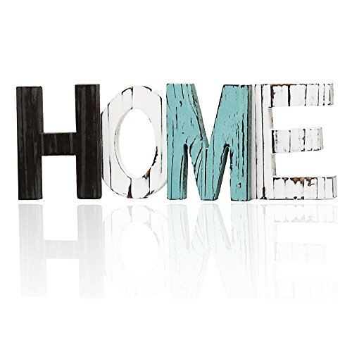 Wooden Home Sign - Decorative Cutout Wood Words - Rustic Home Decor - Multicolor, Distressed, Freestanding, Displays Beautifully on Book Shelf, Mantel, Table, Desk, etc.