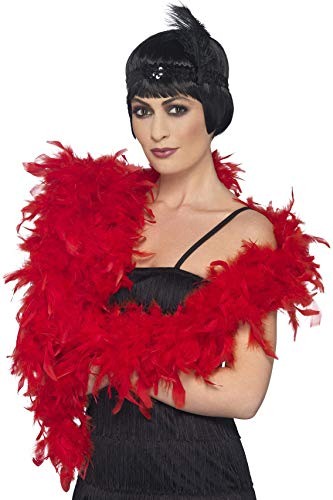 Smiffys Women's Deluxe Boa, Red, Feather, 70inches, 80g, -