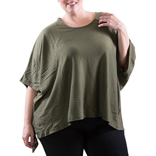 [71203XR-OLV-3X] Women's Plus Size Knit Shirt: High Low Hem Side Slits Loose Fit