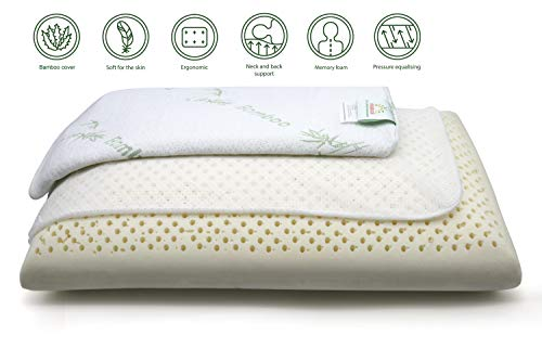 Anatural Latex Pillow, 100% Natural Latex Pillow Breathable Organic Foam Double Zipper Removable Bamboo Cover, Queen Size Pillow for Side Back Sleeper (27.6'' Bread Pillow- ()