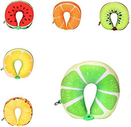 WPQBS Oreiller,Oreiller de Cou de Voyage en Forme de U en Forme de Fruit en Peluche Micro Mousse Mousse Remplissage tête Coussin de Cou pour Enfants Adultes, A, Chine