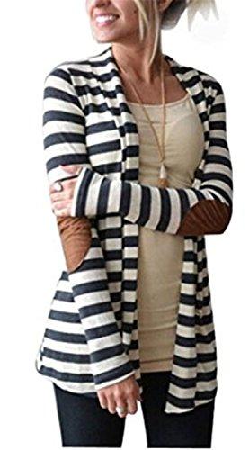 Cardigan Mujer Chaqueta de Manga Larga YOGLY Knit Slim Fashion las Mujeres Ocasionales de Rebecas Rayadas Remiendo Outwear