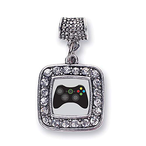 Inspired Silver - Gamer Girl Memory Charm for Women - Silver Square Charm for Bracelet with Cubic Zirconia Jewelry