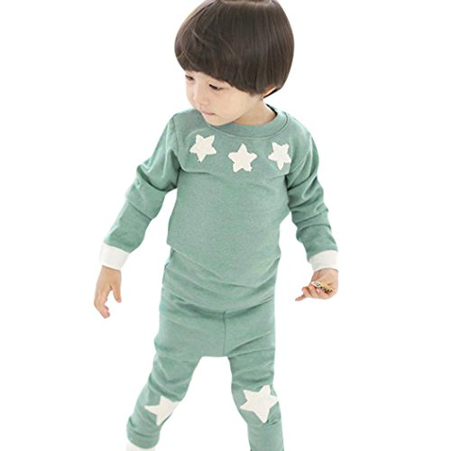 Dreammimi Baby Clothes Kids Clothes Children's clothes Boys Girls Star Long Sleeve Sweatshirts Pants Cotton Baby Clothing Sets Kids Sleeper Pajamas Outfits (Green, 130CM 5Years) by Dreammimi
