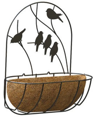 Panacea Perching Birds Wall Planter with Coco Liner, 16-Inch, Black