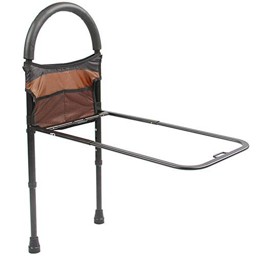 (Pivit Bed Assist Safety Bar with Storage Pocket | Height Adjustable with Non-Slip Grab Handle for Getting Out of Beds | Easy to Assemble Elderly Assistance Guard Rails for Handicap,)
