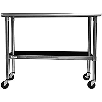 Beautiful TRINITY EcoStorage NSF Stainless Steel Table With Wheels, 48 Inch