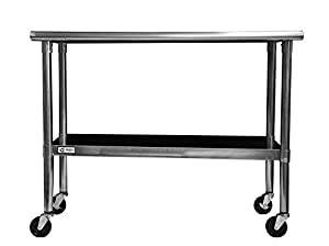 table on wheels. trinity ecostorage nsf stainless steel table with wheels, 48-inch on wheels amazon.com