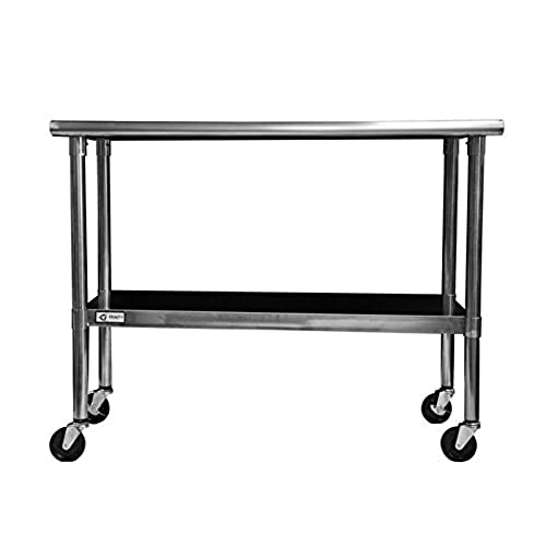 TRINITY EcoStorage NSF Stainless Steel Table With Wheels, 48 Inch