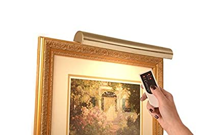 "Cordless Picture Light Remote Control Antique Brass – 18"" For pictures to 45 "" wide- Safe for artwork – No UV or Heat –Steel Frame 2.5 lbs – Dimmer included"