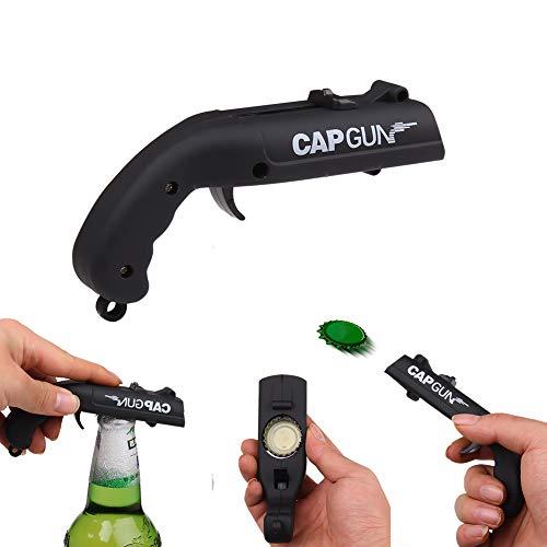 Cap Gun Bottle Opener Cap Gun Launcher Shooter Beer Openers Plastic Beer Bottle Opener for Home Bar Party Drinking Game(Black)