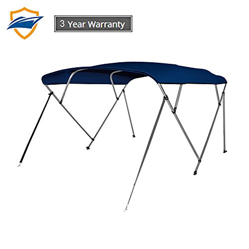 Seamander 3-4 Bow Bimini Boat Top Cover,Boat Accessories,Boat Canopy with Mounting Hardware, Rear Support Pole with Storage Boot(4 Bow 8'L x 54