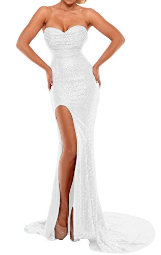 BEAUTBRIDE Women's Sexy Strapless Mermaid Evening Dress with Slit 2019 New White B 4]()