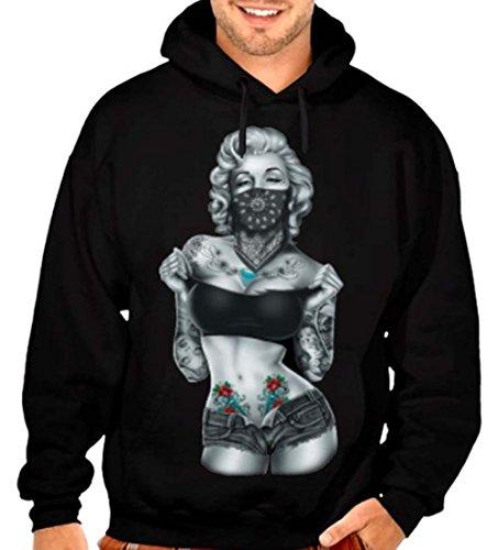 Marilyn Monroe Standing Banadana Men's Pullover Hoodie S-5XL Black (M, Black)