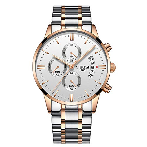 Men's Watches Luxury Fashion Casual Dress Chronograph Waterproof Military Quartz Wristwatches for Men Stainless Steel Band