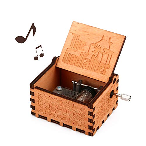 (Kafete Music Box for The God FatherCarved Wooden Hand Crank Musical Box Vintage Classic Handmade Engraved Valentines Birthday Gift for Kids, Boys, Girls, Friends)