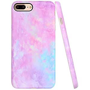 """Iphone 8 Plus Case for girls, Iphone 7 Plus Cases for Grils, A-Focus Frosted Pastel Gradient Colorful Pink Purple Blue Marble Case for Iphone 7 Plus / 8 Plus 5.5"""" - Matte Cotton Candy Pink 3"""