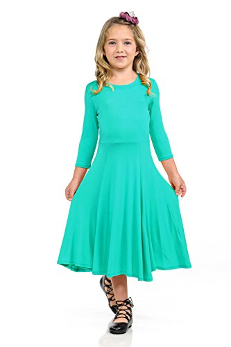 Pastel by Vivienne Honey Vanilla Girls' Princess Seam A-Line Dress with Full Skirt Large 9-10 Years Jade