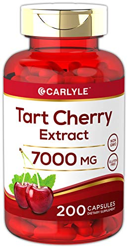 Tart Cherry Capsules | 7000 mg | 200 Count | Max Potency | Non-GMO, Gluten Free | Tart Cherry Juice Extract | by Carlyle