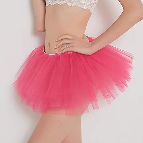 Pervobs Womens Cute Summer Solid Pleated Gauze Elastic Waist Short Skirt Loose Adult Tutu Dancing Skirt(Free, Hot Pink) by Pervobs Dress (Image #4)