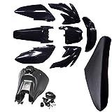 TDPRO Fuel Tank & Plastics Fairing Kit Body Fender Parts & Seat for CRF70 CRF 70 Dirt Pit Bike (Black)