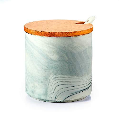 Vencer Ceramic Marble Pattern Sugar Bowl Set, Bamboo Lid and Spoon for Home Kitchen, Sugar Dispenser, VFO-045
