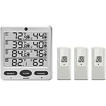 Ambient Weather WS-10 Wireless Indoor Outdoor 8-Channel Thermo-Hygrometer  with 42aa3977d8090