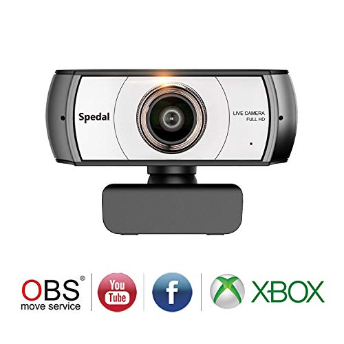 Spedal Full HD Webcam 1080p, Live Streaming Webcam, 120 Degree Ultra Wide  Angle, Computer Laptop Camera for Xbox OBS XSplit Skype Facebook,  Compatible