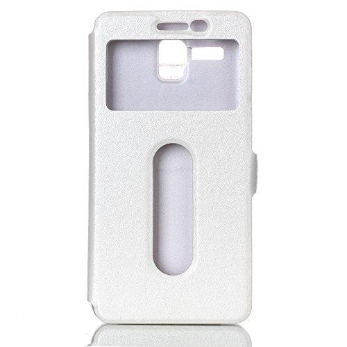 YHUISEN Sólido Cuero Color PU con el caso del soporte del protector del patrón doble ventana abierta seda para Lenovo A806 A8 (respuesta o rechazar llamadas sin abrir la tapa) ( Color : Blue ) White