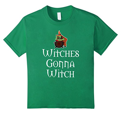 Hocus Pocus Cast Costumes (Kids Witches Gonna Witch T-Shirt Hocus Pocus ~ Halloween Costume 12 Kelly Green)