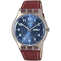 Swatch Originals Vent Bralant Blue Dial Leather Strap Men's Watch SUOK709