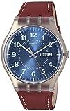 Swatch Originals Vent Bralant Blue Dial Leather Strap Men's Watch SUOK709