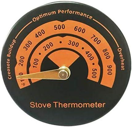Silverdewi Estufa de leña Horno de tubo Termómetro de chimenea ecológico con sonda de sensibilidad Herramienta para el hogar