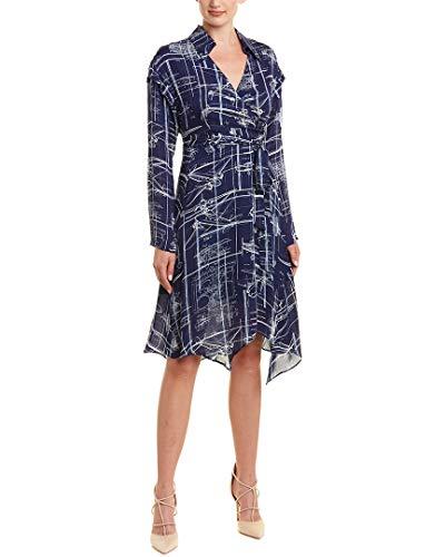 Nicole Miller Women's Blueprint wrap Dress, Blue/White, ()